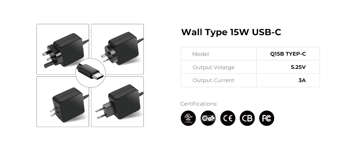 Wall Type 15W USB C Power Supply