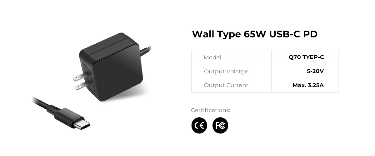 Wall Type 65W USB C PD Power Supply