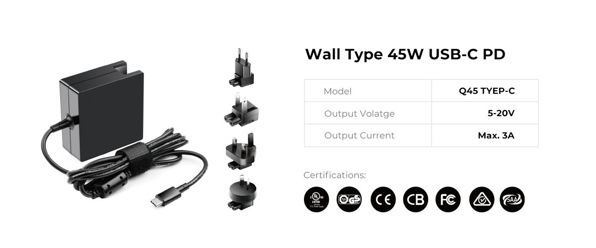 Wall Type Interchangeable plugs 45W USB C PD Power Supply